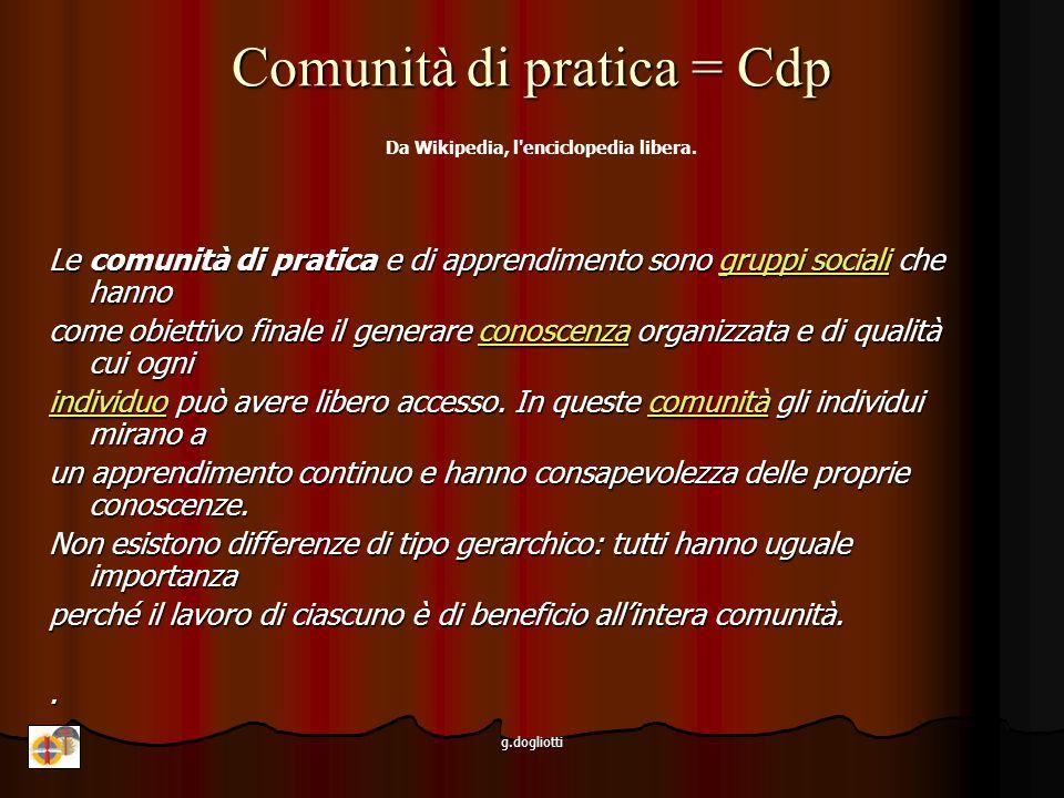 g.dogliotti Comunità di pratica Da Wikipedia, l enciclopedia libera.