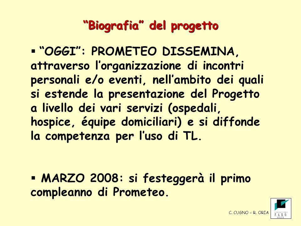Biografia del progetto OGGI: PROMETEO DISSEMINA, attraverso lorganizzazione di incontri personali e/o eventi, nellambito dei quali si estende la prese