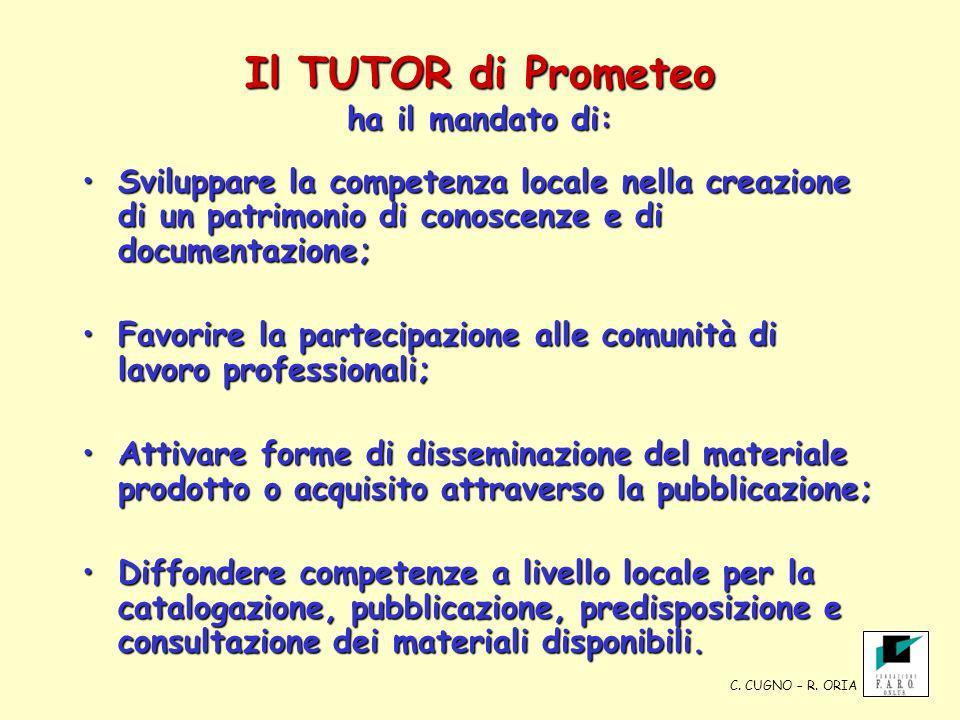 Il TUTOR di Prometeo ha il mandato di: Sviluppare la competenza locale nella creazione di un patrimonio di conoscenze e di documentazione;Sviluppare l