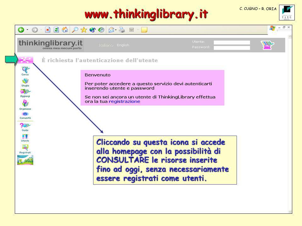 www.thinkinglibrary.it Cliccando su questa icona si accede alla homepage con la possibilità di CONSULTARE le risorse inserite fino ad oggi, senza nece