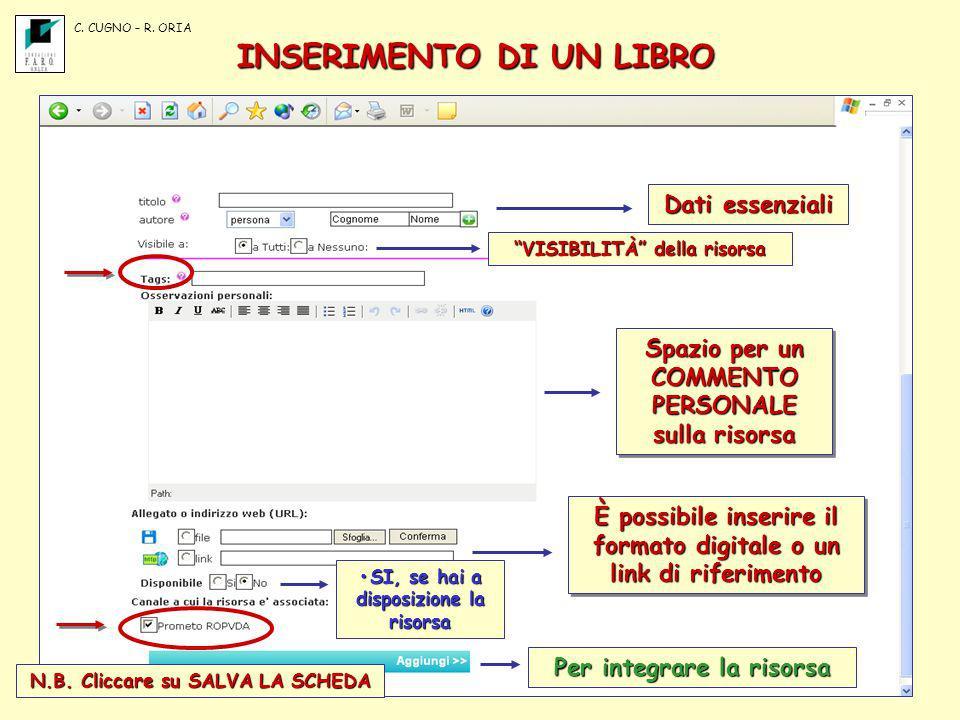 INSERIMENTO DI UN LIBRO Dati essenziali VISIBILITÀ della risorsa Spazio per un COMMENTO PERSONALE sulla risorsa È possibile inserire il formato digita