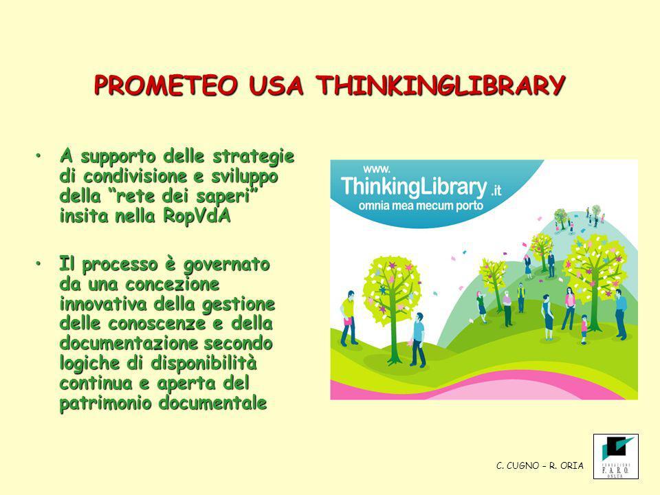 PROMETEO USA THINKINGLIBRARY A supporto delle strategie di condivisione e sviluppo della rete dei saperi insita nella RopVdAA supporto delle strategie