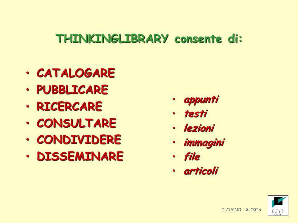 THINKINGLIBRARY consente di: CATALOGARECATALOGARE PUBBLICAREPUBBLICARE RICERCARERICERCARE CONSULTARECONSULTARE CONDIVIDERECONDIVIDERE DISSEMINAREDISSE
