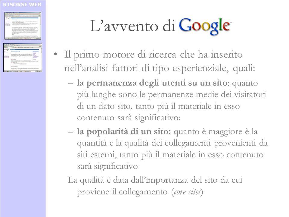 RISORSE WEB Lavvento di Google Il primo motore di ricerca che ha inserito nellanalisi fattori di tipo esperienziale, quali: –la permanenza degli utent