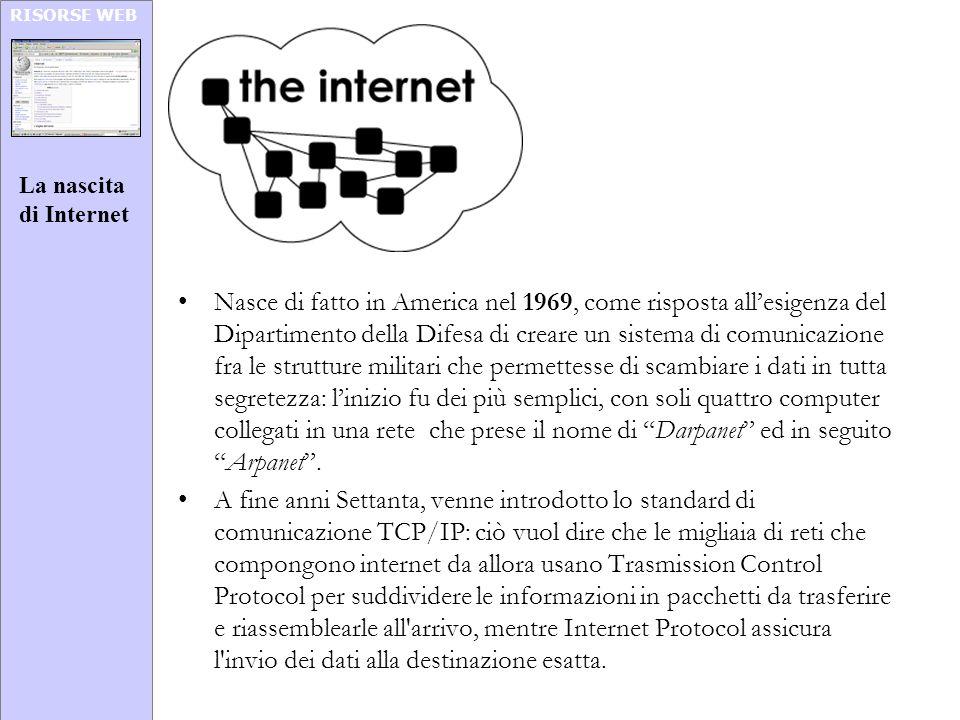 RISORSE WEB Nasce di fatto in America nel 1969, come risposta allesigenza del Dipartimento della Difesa di creare un sistema di comunicazione fra le s