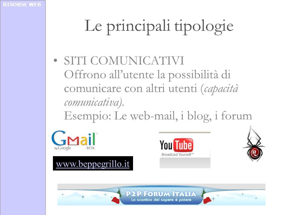 RISORSE WEB Le principali tipologie SITI COMUNICATIVI Offrono allutente la possibilità di comunicare con altri utenti (capacità comunicativa). Esempio