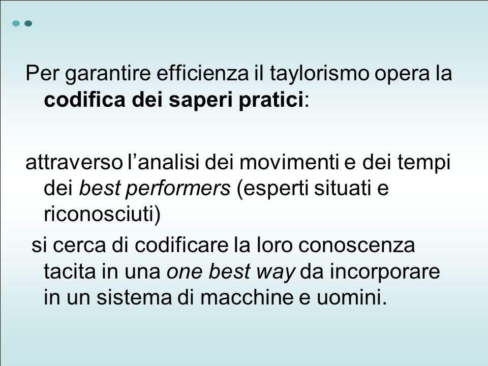 Per garantire efficienza il taylorismo opera la codifica dei saperi pratici: attraverso lanalisi dei movimenti e dei tempi dei best performers (espert