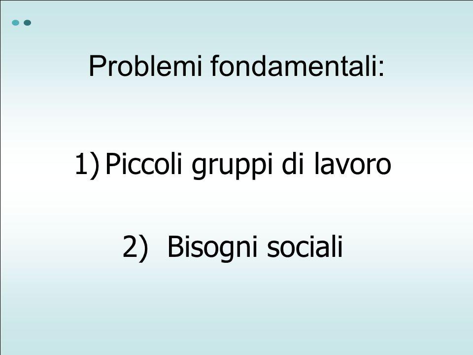 Problemi fondamentali: 1)Piccoli gruppi di lavoro 2) Bisogni sociali