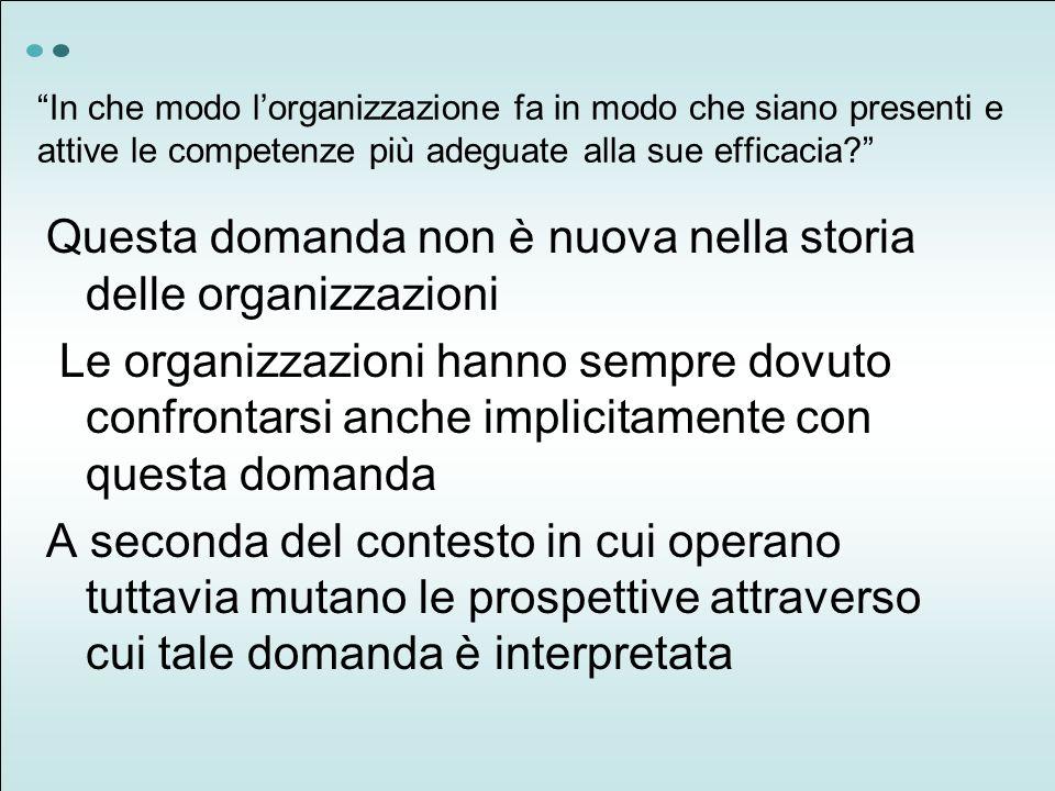 Questa domanda non è nuova nella storia delle organizzazioni Le organizzazioni hanno sempre dovuto confrontarsi anche implicitamente con questa domand