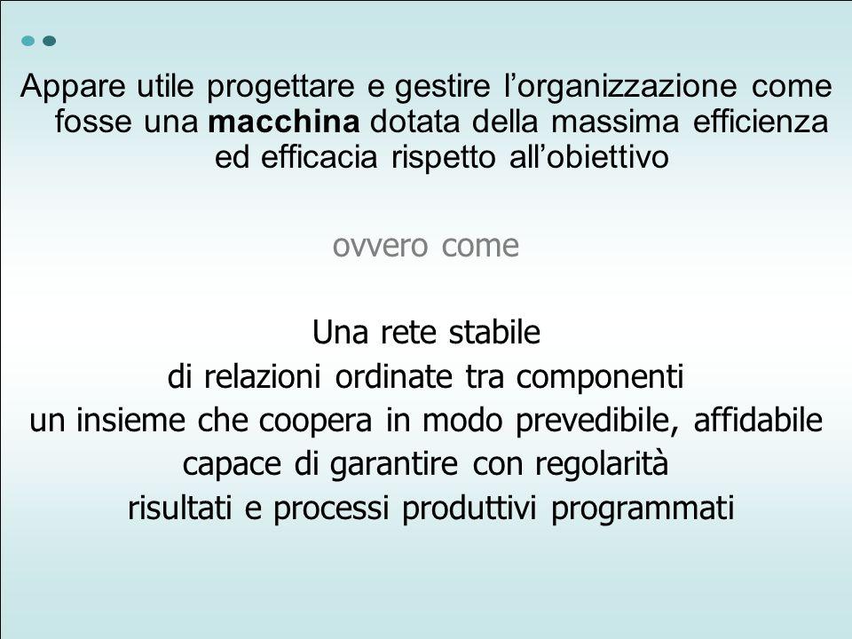 Appare utile progettare e gestire lorganizzazione come fosse una macchina dotata della massima efficienza ed efficacia rispetto allobiettivo ovvero co