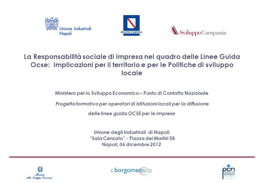 La Responsabilità sociale di impresa nel quadro delle Linee Guida Ocse: implicazioni per il territorio e per le Politiche di sviluppo locale Unione de