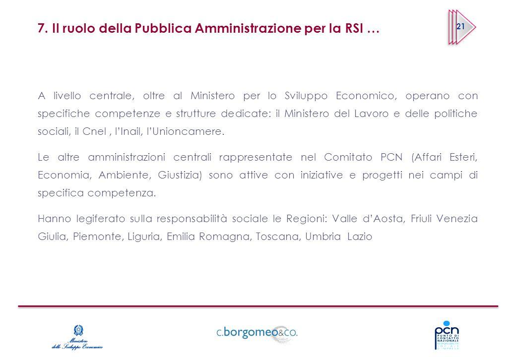 7. Il ruolo della Pubblica Amministrazione per la RSI … A livello centrale, oltre al Ministero per lo Sviluppo Economico, operano con specifiche compe