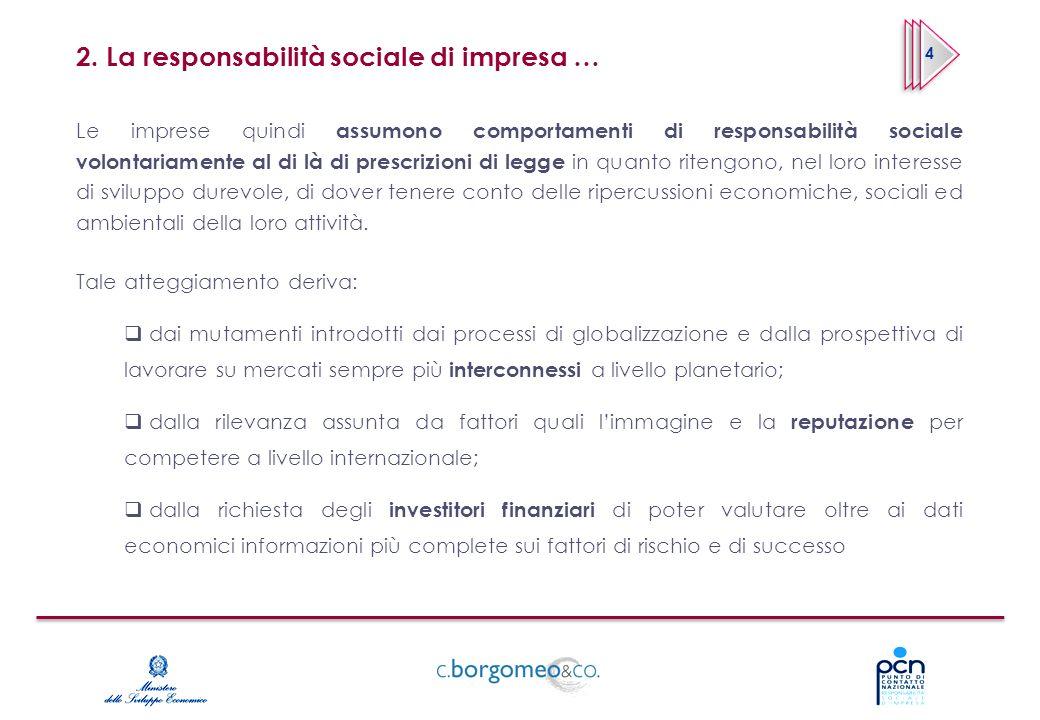 2. La responsabilità sociale di impresa … Le imprese quindi assumono comportamenti di responsabilità sociale volontariamente al di là di prescrizioni