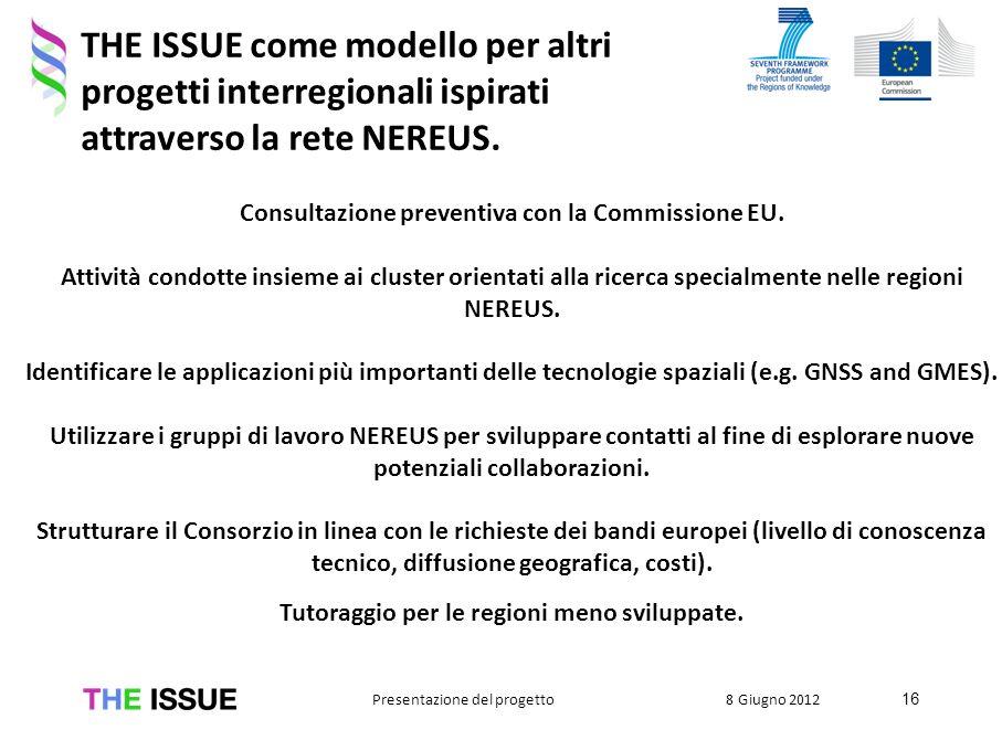 Consultazione preventiva con la Commissione EU. Attività condotte insieme ai cluster orientati alla ricerca specialmente nelle regioni NEREUS. Identif