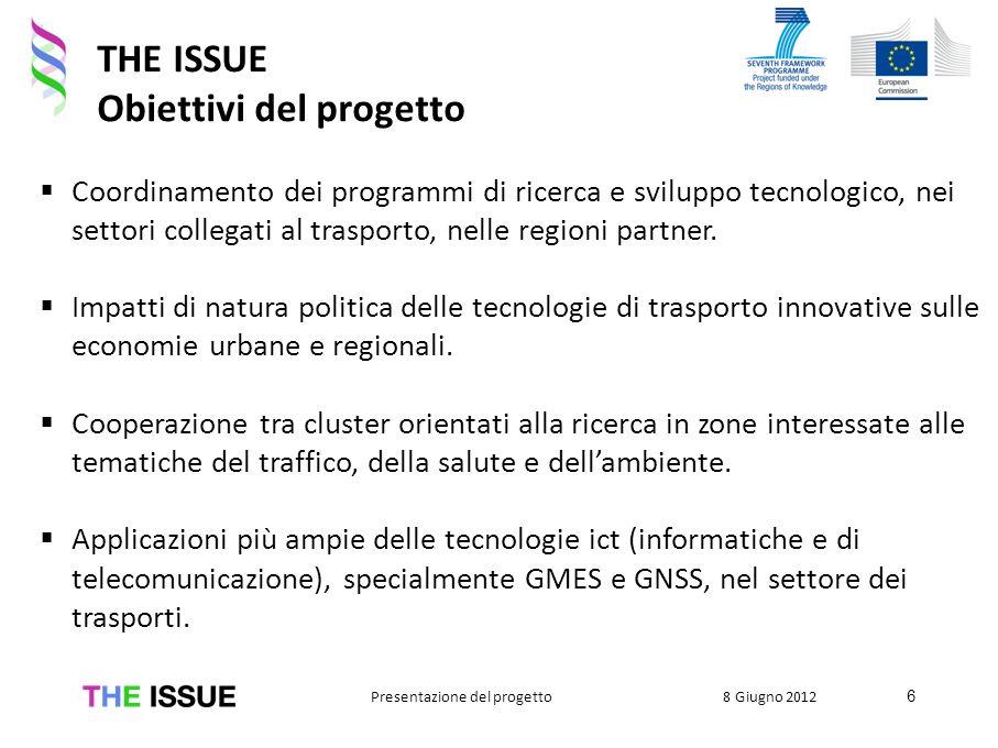 THE ISSUE Obiettivi del progetto Coordinamento dei programmi di ricerca e sviluppo tecnologico, nei settori collegati al trasporto, nelle regioni part