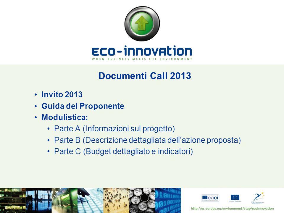 Documenti Call 2013 Invito 2013 Guida del Proponente Modulistica: Parte A (Informazioni sul progetto) Parte B (Descrizione dettagliata dellazione prop