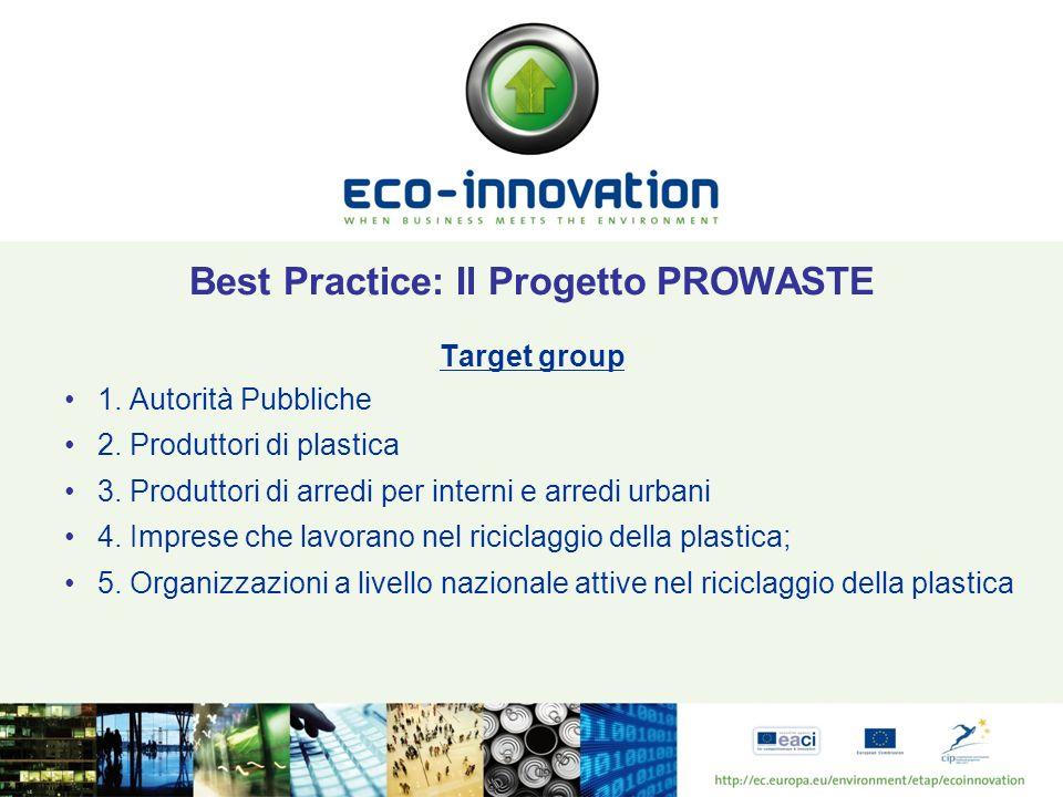 Best Practice: Il Progetto PROWASTE Target group 1. Autorità Pubbliche 2. Produttori di plastica 3. Produttori di arredi per interni e arredi urbani 4