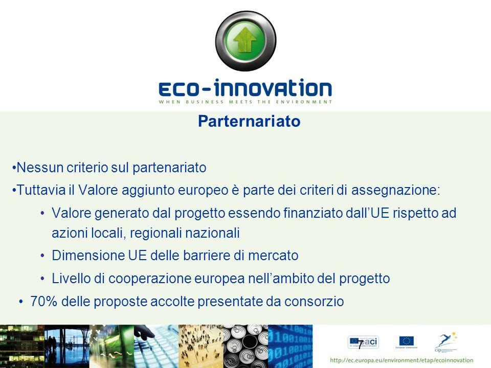 Parternariato Nessun criterio sul partenariato Tuttavia il Valore aggiunto europeo è parte dei criteri di assegnazione: Valore generato dal progetto e