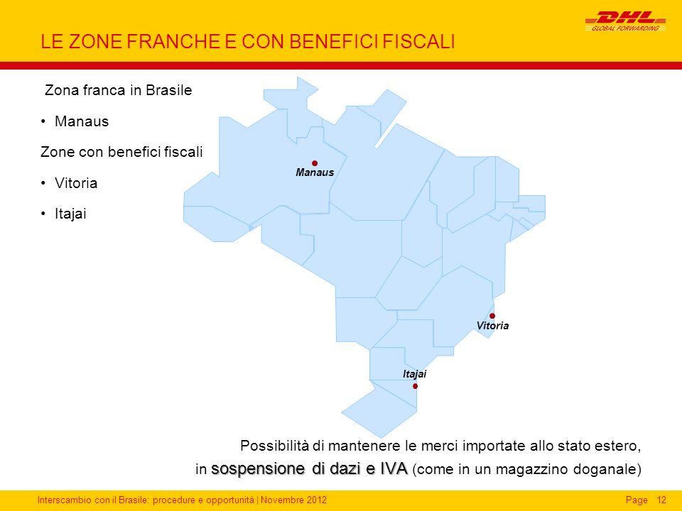 Interscambio con il Brasile: procedure e opportunità   Novembre 2012Page12 LE ZONE FRANCHE E CON BENEFICI FISCALI Zona franca in Brasile Manaus Zone c