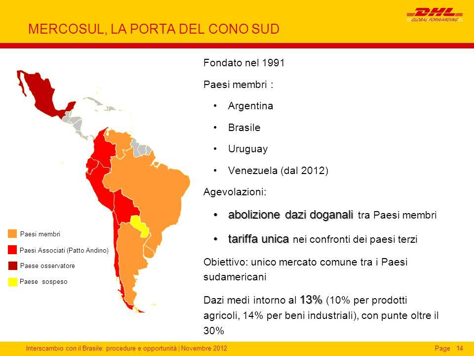 Interscambio con il Brasile: procedure e opportunità   Novembre 2012Page14 MERCOSUL, LA PORTA DEL CONO SUD Fondato nel 1991 Paesi membri : Argentina B
