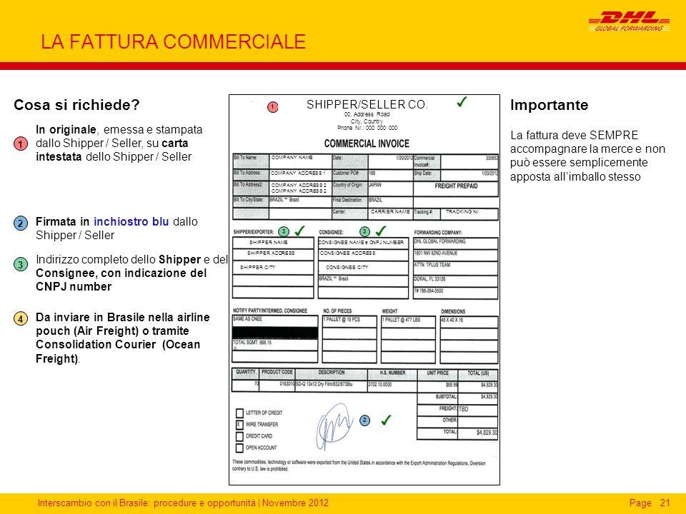 Interscambio con il Brasile: procedure e opportunità   Novembre 2012Page21 LA FATTURA COMMERCIALE 2 4 3 1 Cosa si richiede? In originale, emessa e sta