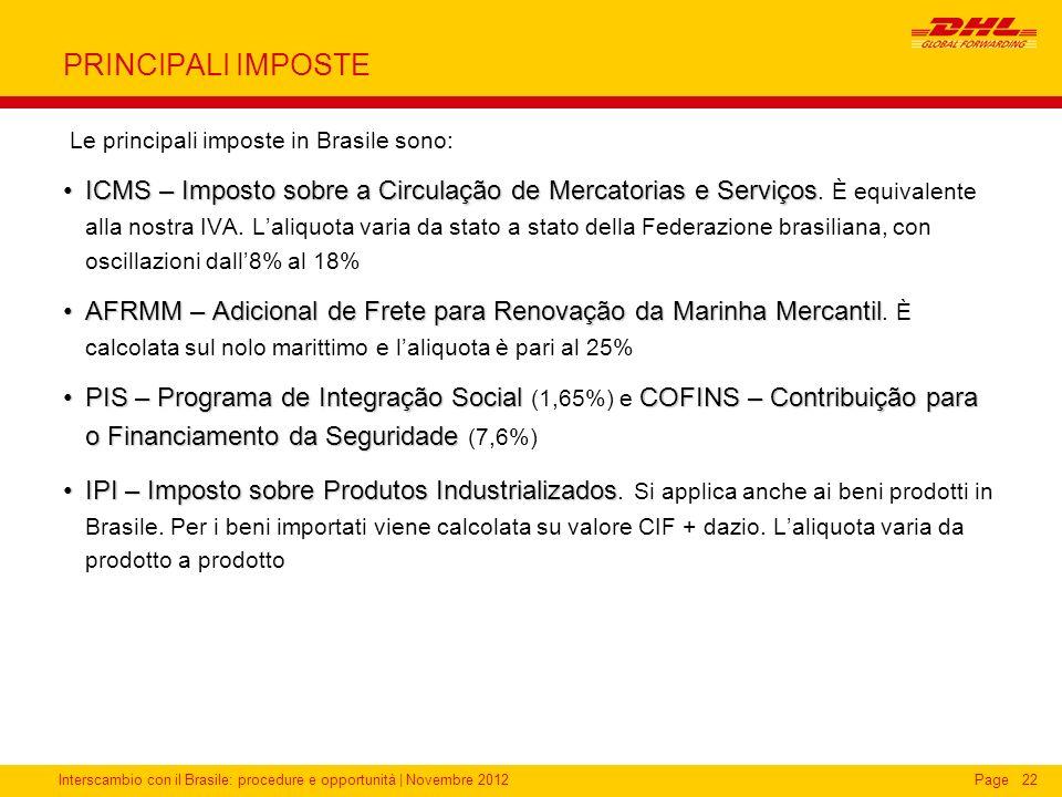 Interscambio con il Brasile: procedure e opportunità   Novembre 2012Page22 PRINCIPALI IMPOSTE Le principali imposte in Brasile sono: ICMS – Imposto so