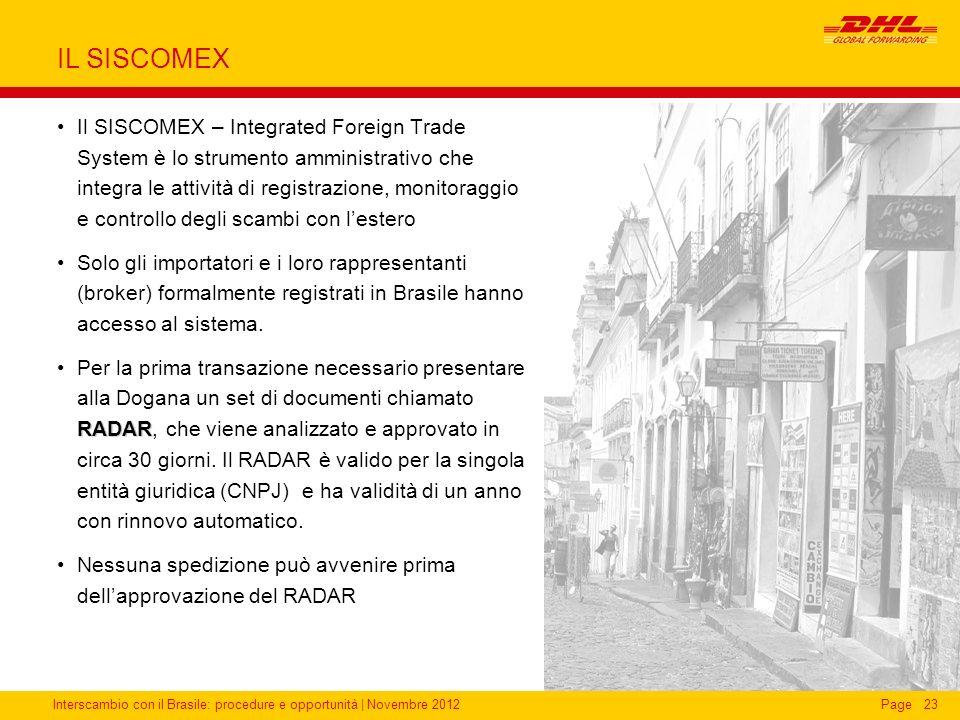Interscambio con il Brasile: procedure e opportunità   Novembre 2012Page23 IL SISCOMEX Il SISCOMEX – Integrated Foreign Trade System è lo strumento am