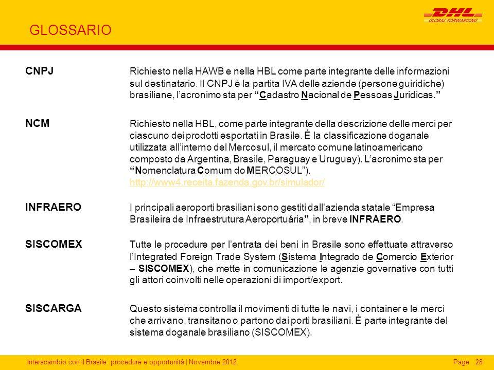 Interscambio con il Brasile: procedure e opportunità   Novembre 2012Page28 GLOSSARIO CNPJ Richiesto nella HAWB e nella HBL come parte integrante delle