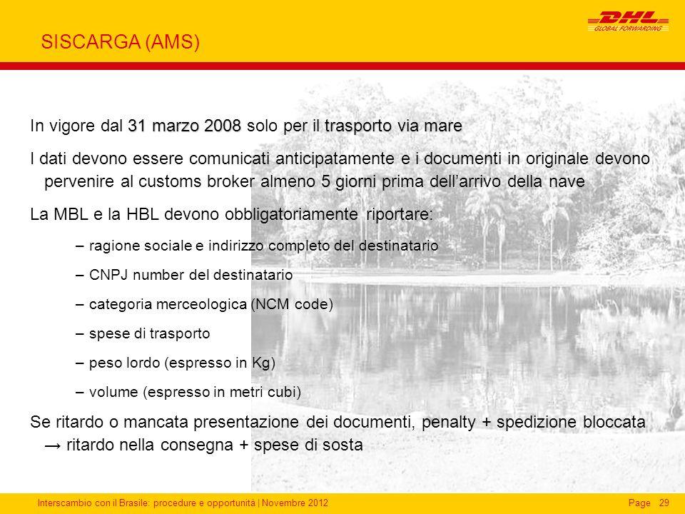 Interscambio con il Brasile: procedure e opportunità   Novembre 2012Page29 SISCARGA (AMS) 31 marzo 2008trasporto via mare In vigore dal 31 marzo 2008