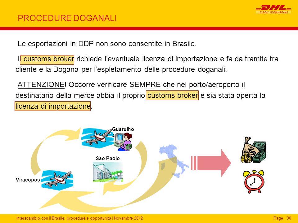 Interscambio con il Brasile: procedure e opportunità   Novembre 2012Page30 PROCEDURE DOGANALI Viracopos Guarulho s São Paolo Le esportazioni in DDP no