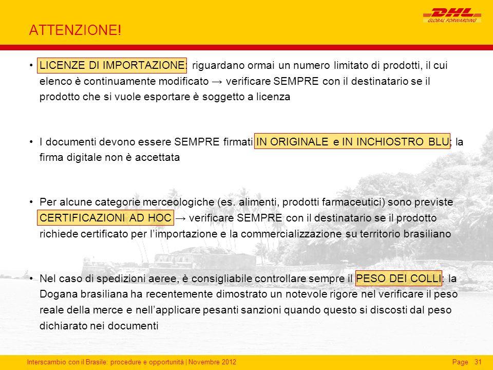 Interscambio con il Brasile: procedure e opportunità   Novembre 2012Page31 ATTENZIONE! LICENZE DI IMPORTAZIONE: riguardano ormai un numero limitato di