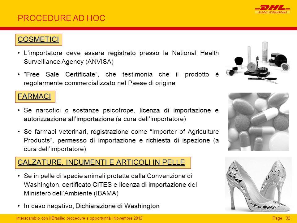 Interscambio con il Brasile: procedure e opportunità   Novembre 2012Page32 PROCEDURE AD HOC COSMETICI registratoLimportatore deve essere registrato pr