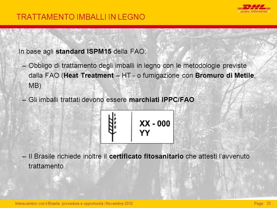 Interscambio con il Brasile: procedure e opportunità   Novembre 2012Page33 TRATTAMENTO IMBALLI IN LEGNO standard ISPM15 In base agli standard ISPM15 d