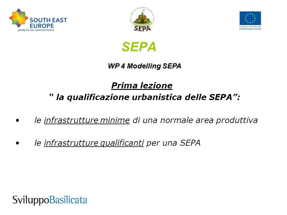 SEPA WP 4 Modelling SEPA Prima lezione la qualificazione urbanistica delle SEPA : le infrastrutture minime di una normale area produttiva le infrastrutture qualificanti per una SEPA