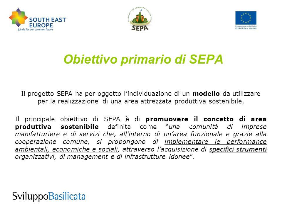 Obiettivi specifici di SEPA aree produttive sostenibili 1) definire un modello transnazionale di gestione per creare e sviluppare aree produttive sostenibili che riducano limpatto negativo delle attività manifatturiere e aiutare le PMI a raggiungere standard ambientali migliori; vantaggi competitivi 2) preparare studi di fattibilità e piani per gli investimenti nelle aree selezionate che comportino vantaggi competitivi per gli investitori.