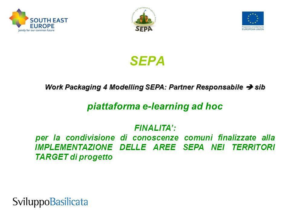 SEPA Work Packaging 4 Modelling SEPA: Partner Responsabile sib piattaforma e-learning ad hoc FINALITA: per la condivisione di conoscenze comuni finalizzate alla IMPLEMENTAZIONE DELLE AREE SEPA NEI TERRITORI TARGET di progetto