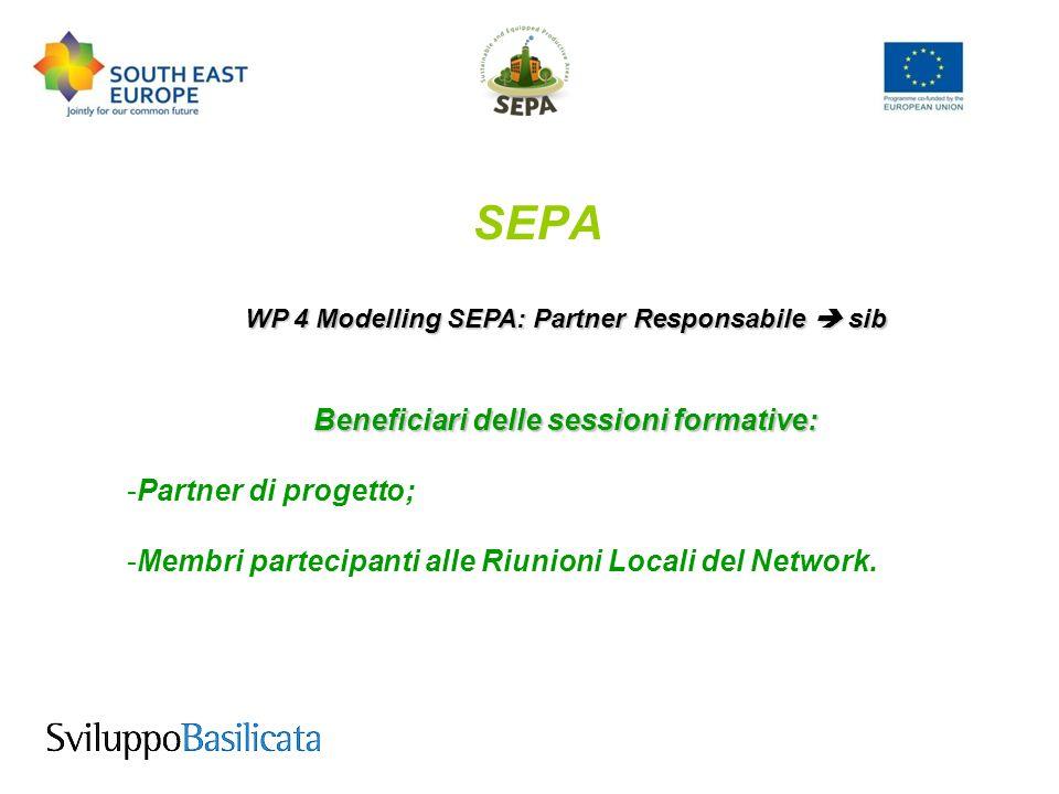 SEPA WP 4 Modelling SEPA: Partner Responsabile sib Beneficiari delle sessioni formative: -Partner di progetto; -Membri partecipanti alle Riunioni Locali del Network.