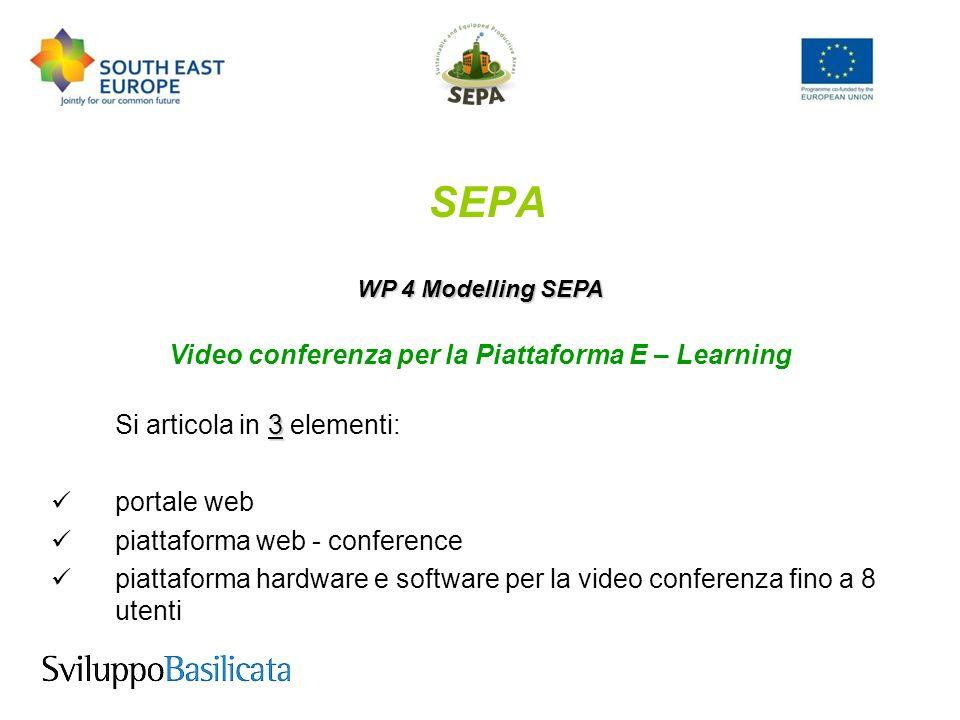 SEPA WP 4 Modelling SEPA The Web portal (1/3) Il portale web basato su linguaggio PHP e MySql, su hosting linux, è lo strumento di condivisione e diffusione dei contenuti risultanti dalle varie video-conferenze a raccordo con le altre parti del progetto; condividere e gestire i contenuti multimediali permetterà di condividere e gestire i contenuti multimediali risultanti dalle lezioni e dalle conferenze
