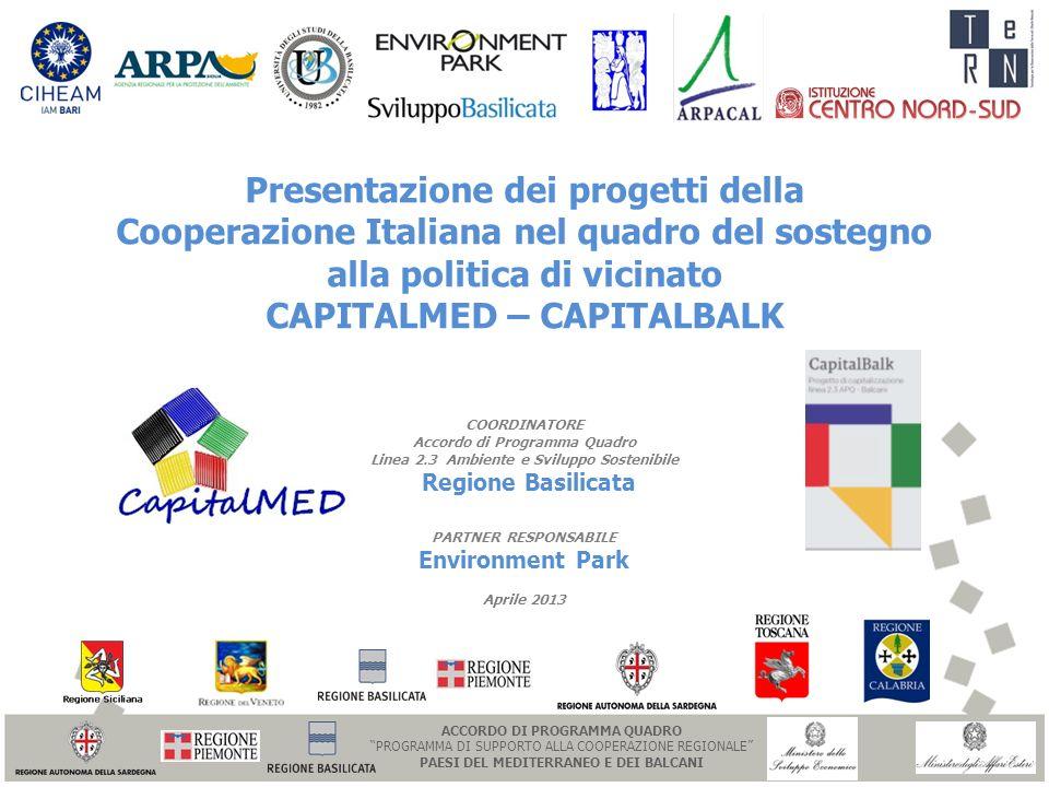 Presentazione dei progetti della Cooperazione Italiana nel quadro del sostegno alla politica di vicinato CAPITALMED – CAPITALBALK COORDINATORE Accordo