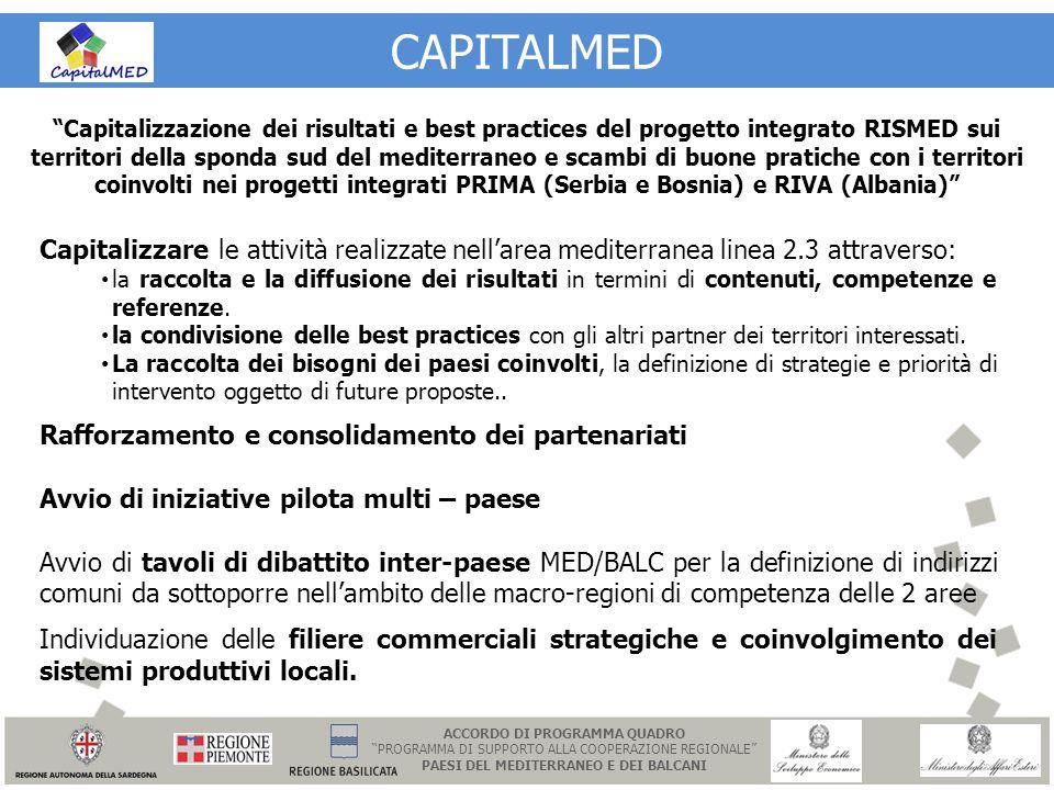 CAPITALMED Capitalizzazione dei risultati e best practices del progetto integrato RISMED sui territori della sponda sud del mediterraneo e scambi di b
