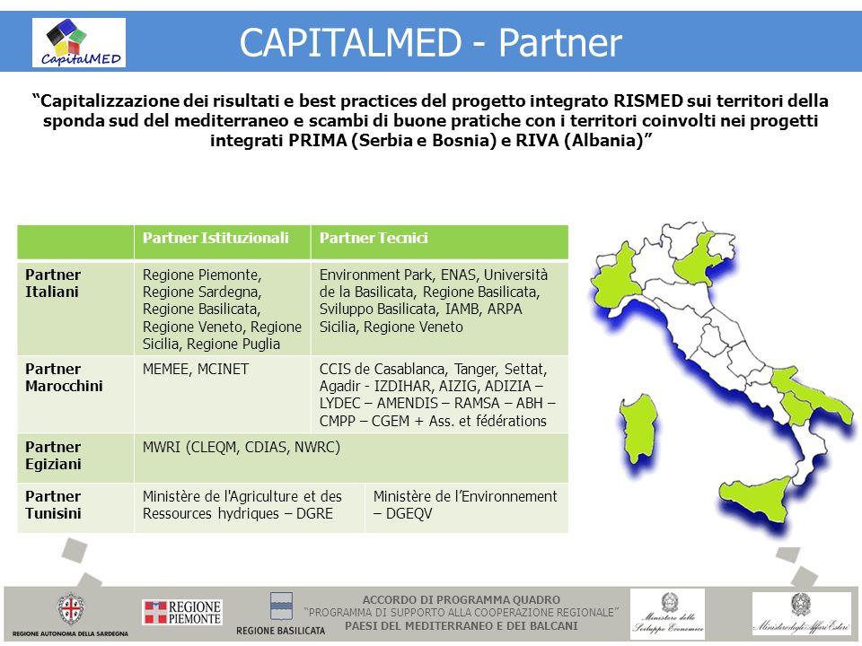 CAPITALMED - Partner Partner IstituzionaliPartner Tecnici Partner Italiani Regione Piemonte, Regione Sardegna, Regione Basilicata, Regione Veneto, Reg