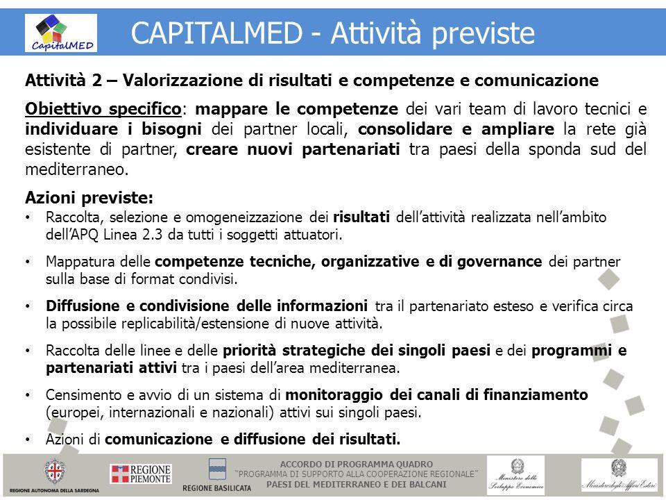 CAPITALMED - Attività previste Attività 2 – Valorizzazione di risultati e competenze e comunicazione Obiettivo specifico: mappare le competenze dei va