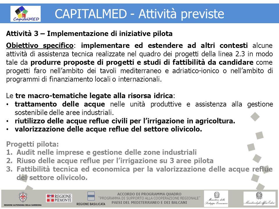 CAPITALMED - Attività previste Attività 3 – Implementazione di iniziative pilota Obiettivo specifico: implementare ed estendere ad altri contesti alcu