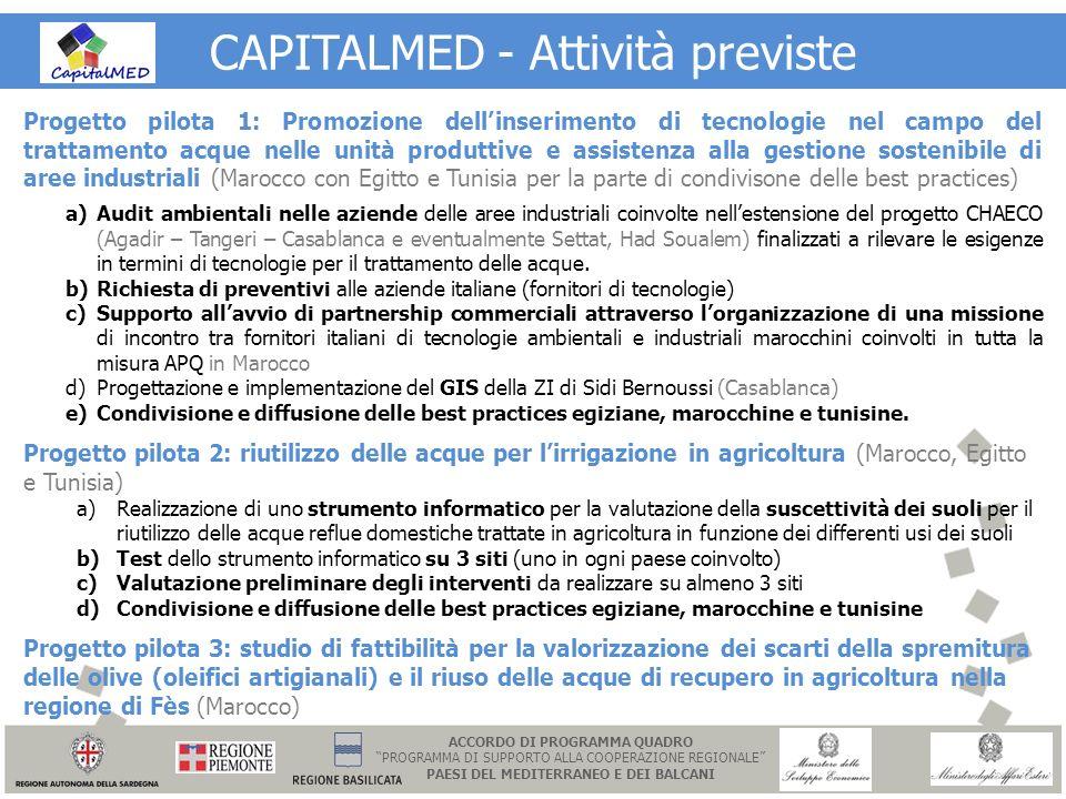 CAPITALMED - Attività previste Progetto pilota 1: Promozione dellinserimento di tecnologie nel campo del trattamento acque nelle unità produttive e as