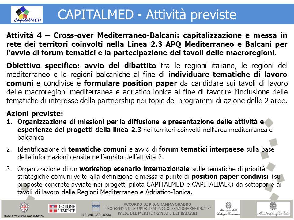 CAPITALMED - Attività previste Attività 4 – Cross-over Mediterraneo-Balcani: capitalizzazione e messa in rete dei territori coinvolti nella Linea 2.3