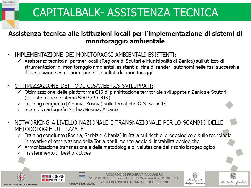 CAPITALBALK- ASSISTENZA TECNICA Assistenza tecnica alle istituzioni locali per limplementazione di sistemi di monitoraggio ambientale IMPLEMENTAZIONE