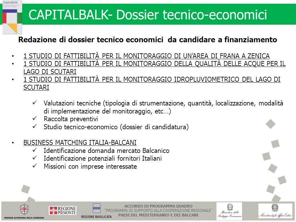 CAPITALBALK- Dossier tecnico-economici Redazione di dossier tecnico economici da candidare a finanziamento 1 STUDIO DI FATTIBILITÀ PER IL MONITORAGGIO