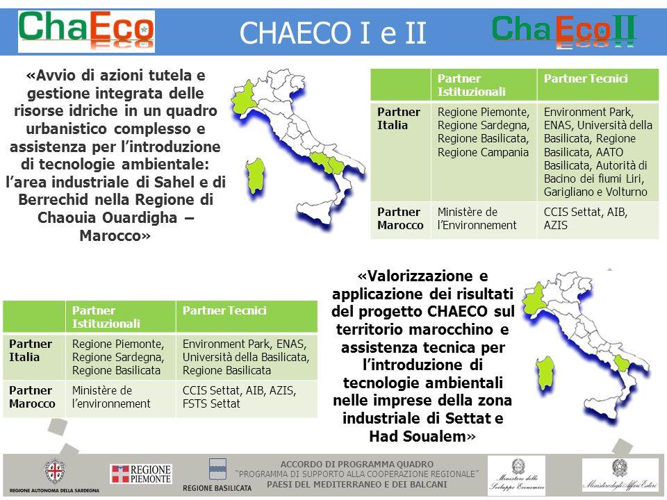 CHAECO I e II «Avvio di azioni tutela e gestione integrata delle risorse idriche in un quadro urbanistico complesso e assistenza per lintroduzione di