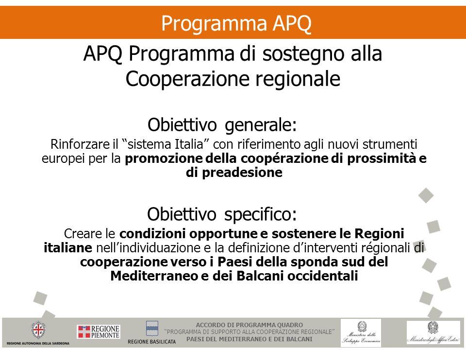 Programma APQ APQ Programma di sostegno alla Cooperazione regionale Obiettivo generale: Rinforzare il sistema Italia con riferimento agli nuovi strume