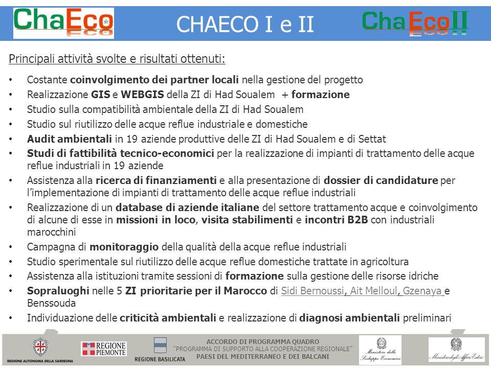 CHAECO I e II Principali attività svolte e risultati ottenuti: Costante coinvolgimento dei partner locali nella gestione del progetto Realizzazione GI